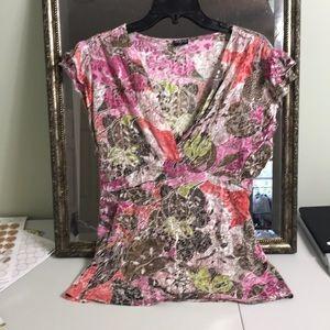 Tribal tie back flutter sleeve burnout blouse Sz L